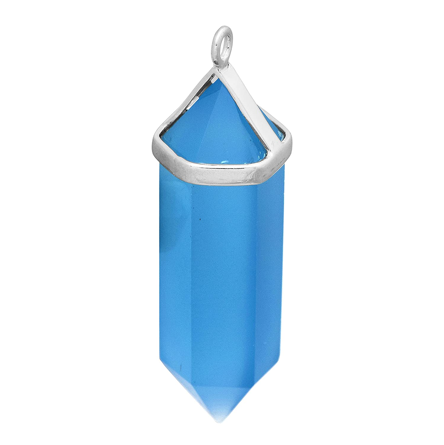 Handmade Jewelry 925 Sterling Silver Blue Chalcedony Gift Pendant
