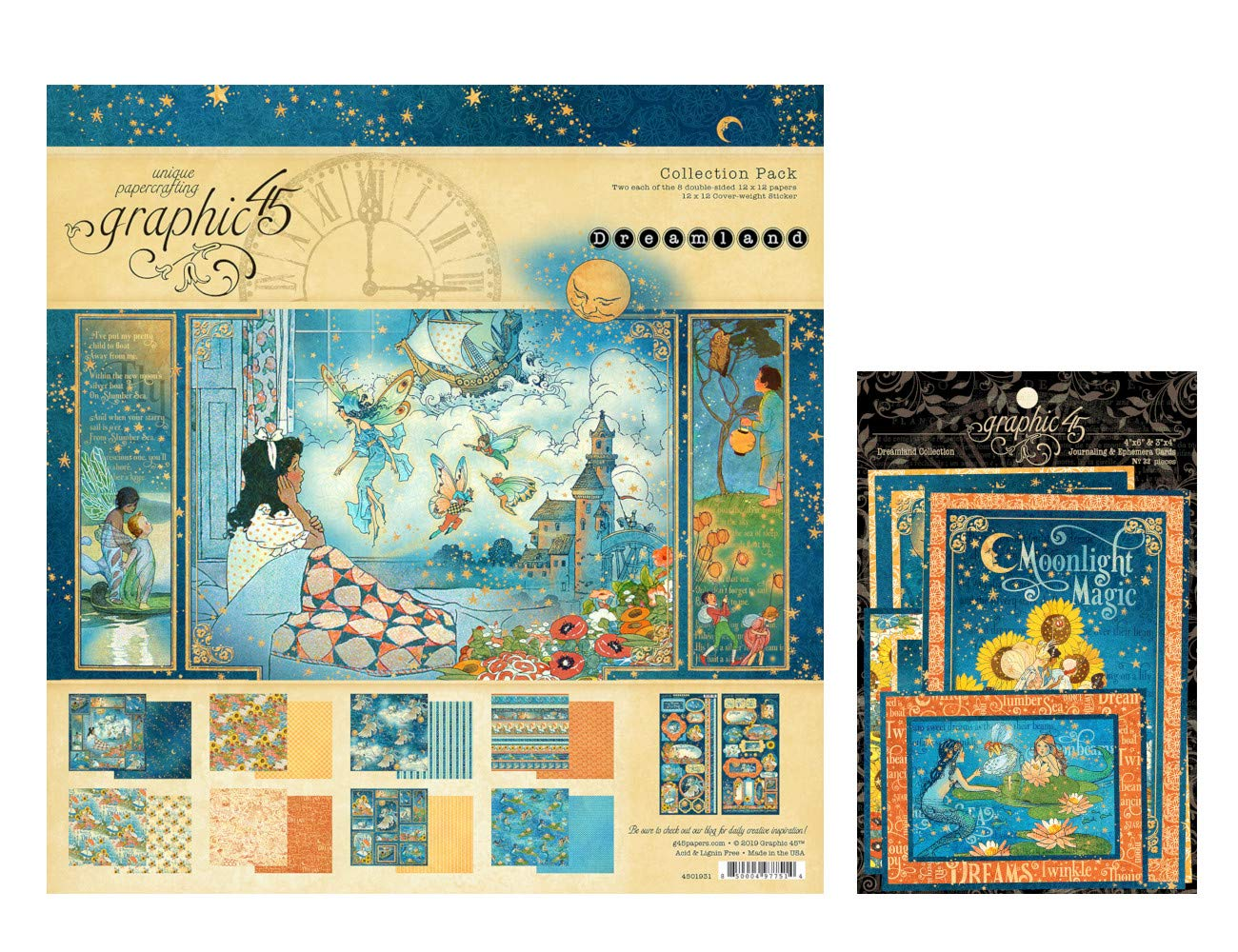 Graphic 45 Dreamland Collection Set: 12x12 Collection Pack Plus Ephemera Cards by Graphic 45