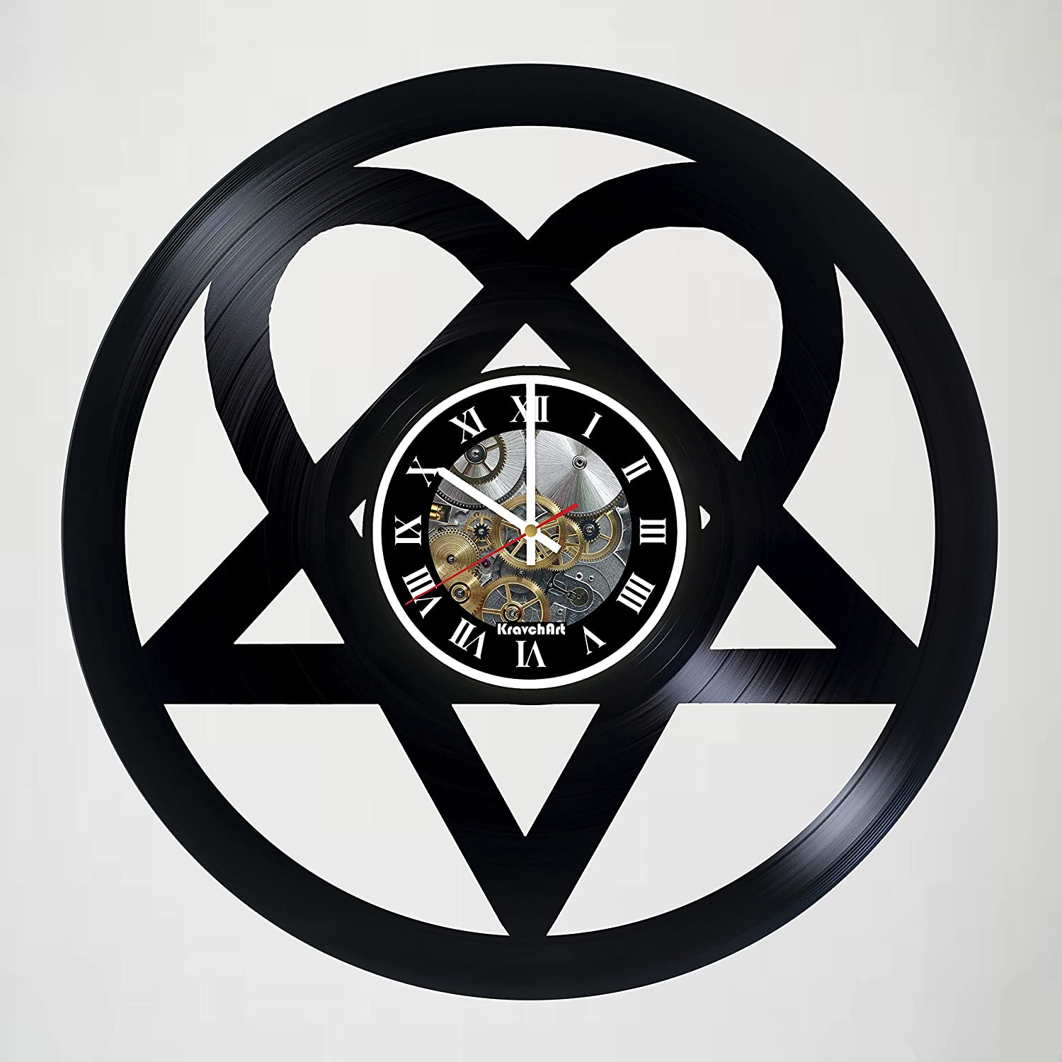 KravchArt H.I.M. - Heartagram - Music Band Design Handmade Vinyl Record Wall Clock for Birthday Wedding Anniversary Valentine's Mother's Ideas for Men and Women him and her