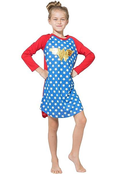 88707c90aa7df INTIMO Girls' Wonder Woman Gold Foil Raglan Nightgown