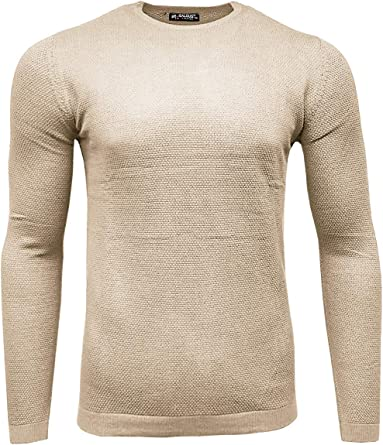 Mens Round Neck Jumper Soft Sweater Pullover Knitted Warm Plain Long Sleeve Tops