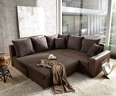 Eckcouch braun  Couch Lavello mit Hocker Ecksofa L-Sofa (Eckcouch Links mit Hocker ...
