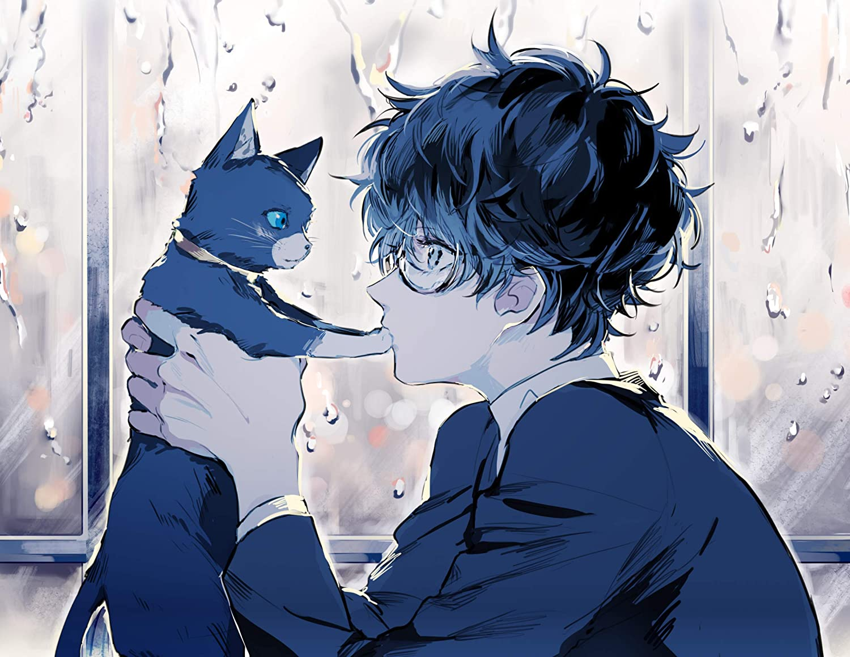 Amazon Com Persona 5 Poster Persona 5 Manga Kurusu Akira Anime Boy Cat Handmade