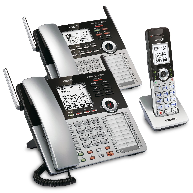 Amazon Com Vtech 4 Line Small Business Phone System Office Starter Bundle With 1 Cm18445 Main Console 1 Cm Cm18045 Handset Electronics