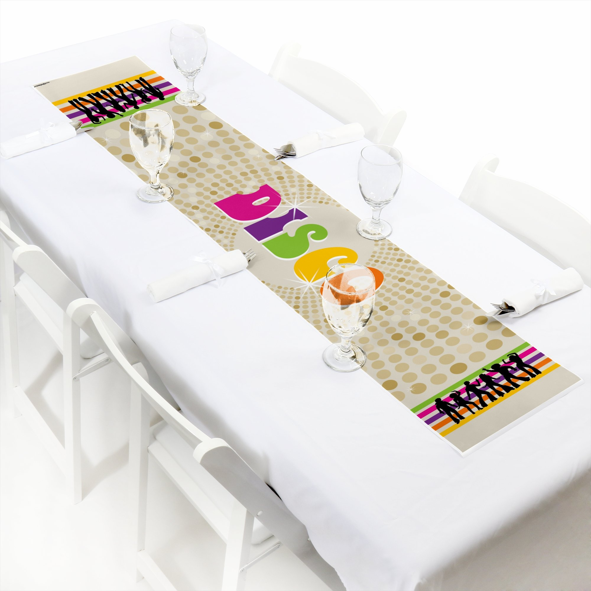 Big Dot of Happiness 70's Disco - Petite 1970's Disco Fever Party Paper Table Runner - 12 x 60 inches by Big Dot of Happiness