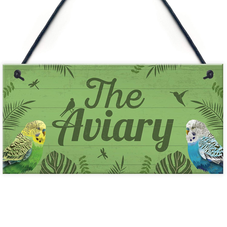 RED OCEAN The Aviary Bird Aviary Sign Bird Accessories For Cage Garden Plaque Gift For Nan Grandad Bird Lover Gifts