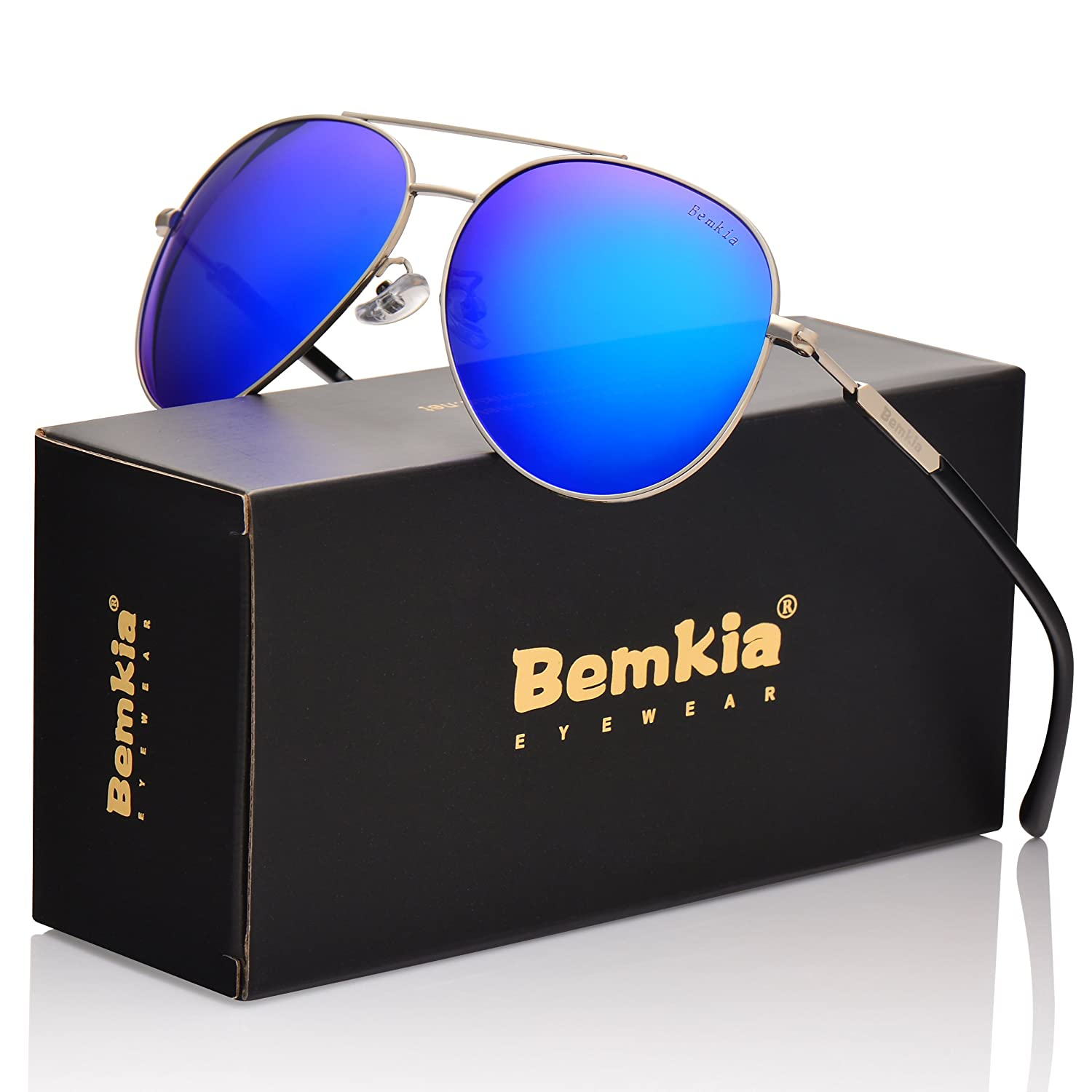 Mens Aviator Polarized Sunglasses for Women UV400 Protection By Bemkia with case 60mm