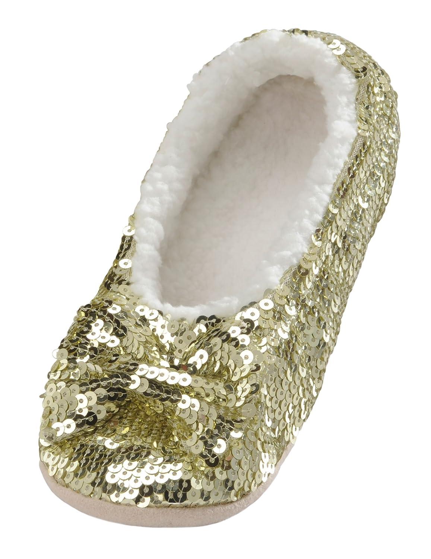 Snoozies Ballerina Bling Metallic Shine Womens Cozy Sequin Slippers FA13-CLASSIC