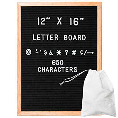 Felt Letter Board with 650 Letters, Numbers & Symbols - 12x16 Inch Changeable Message Board with Oak Wooden Frame, Plus Free Letter Bag