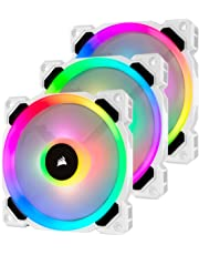 Corsair LL120 LL Series, 120 mm Dual Light Loop RGB LED, PWM, High Airflow Fan - White (Triple Pack with Lighting Node PRO)