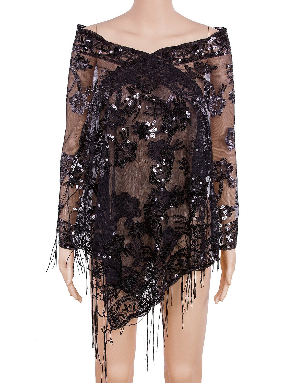 Vijiv Women's 1920s Sequin Shawl Wraps Cape Shrug For Gatsby Bridal Wedding Evening Dresses 21.5''63'' Black