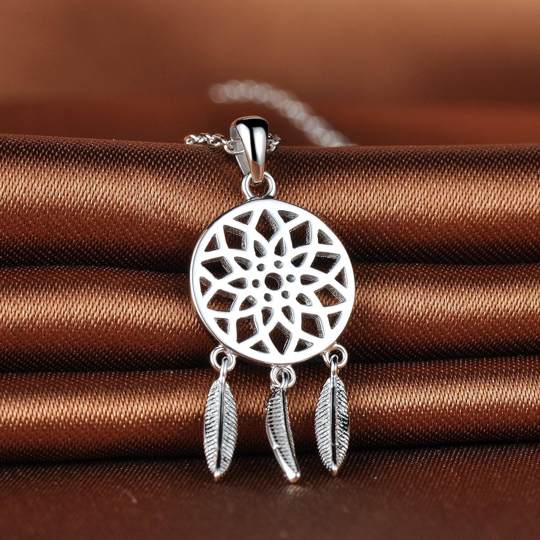 Collar extensible de plata de ley 925 con colgante de pluma tribal atrapasue/ños Infinite U