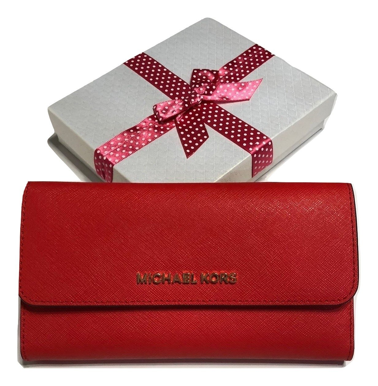 Michael Kors Jet Set Travel Large Trifold Wallet Saffiano Leather (DK Sangria)