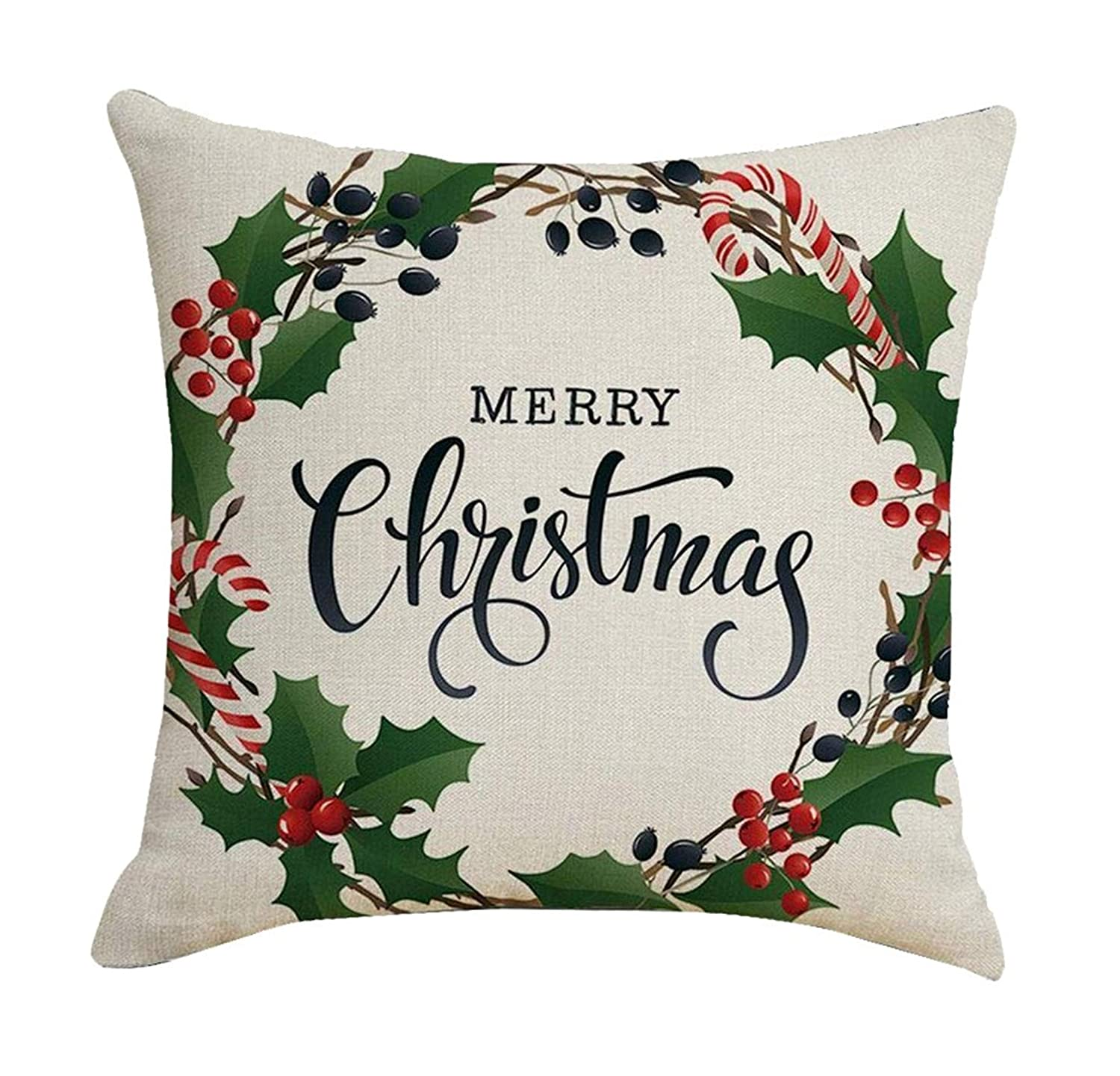 Respctful✿Merry Christmas Festival Pillow Cushion Cover case New Year Pillow Office Pillowcase for Sofa car Decoration