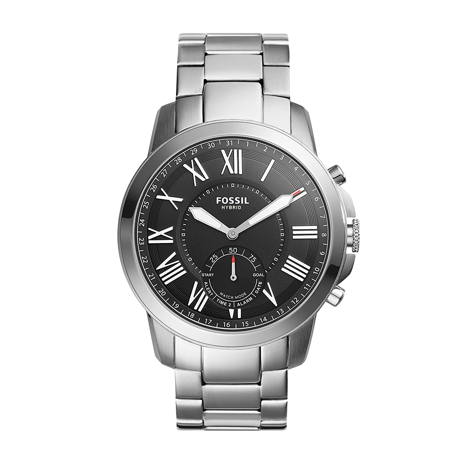Amazon.com: Fossil Hybrid Smartwatch - Q Grant Stainless ...