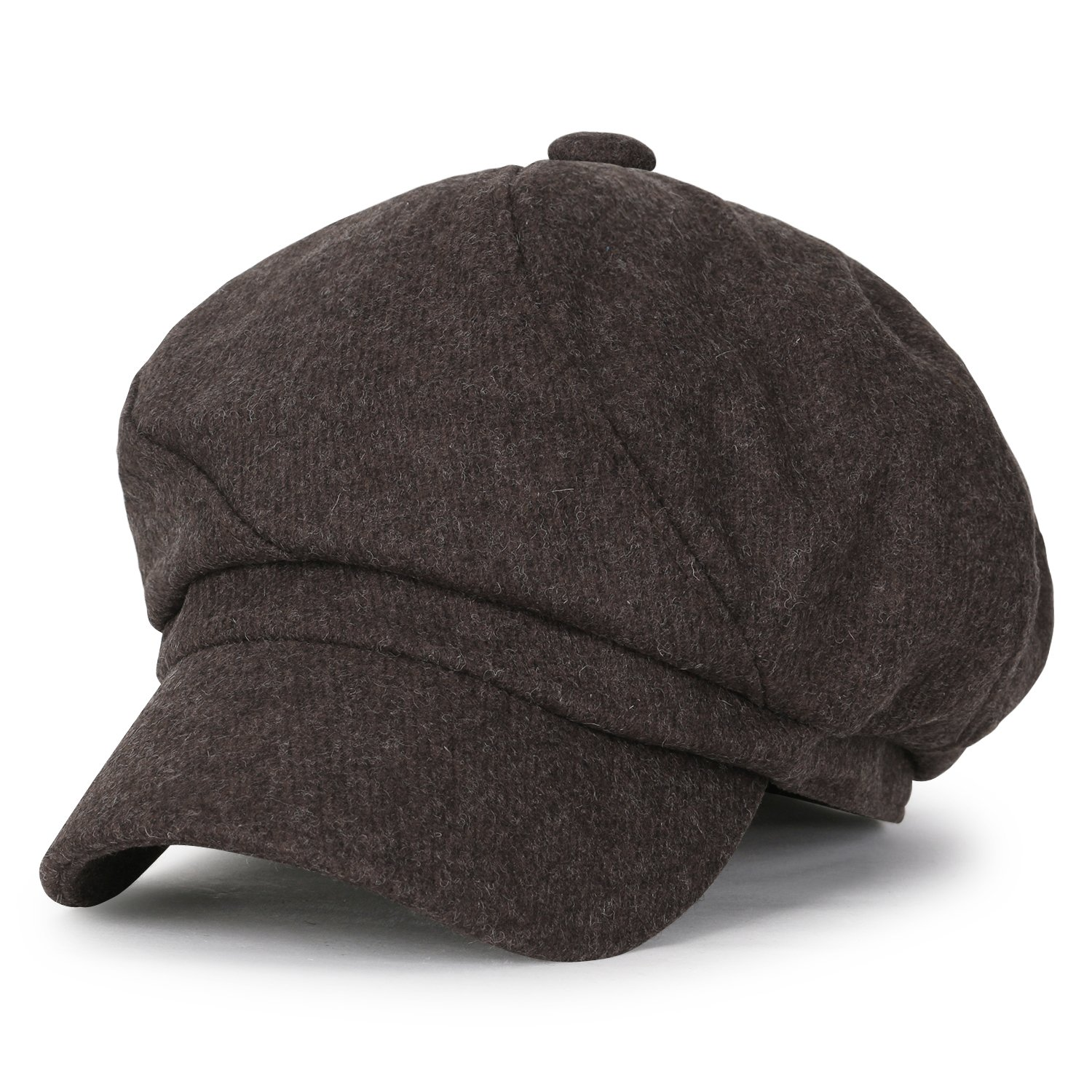 5045ecebff3bb ililily Solid Wool-Blended Vintage Newsboy Hat Duck Bill Gatsby Ivy Flat Cap  Black