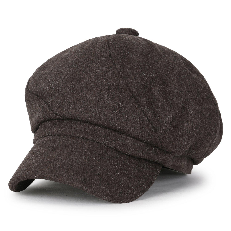 ililily Solid Wool-Blended Vintage Newsboy Hat Duck Bill Gatsby Ivy Flat Cap, Brown
