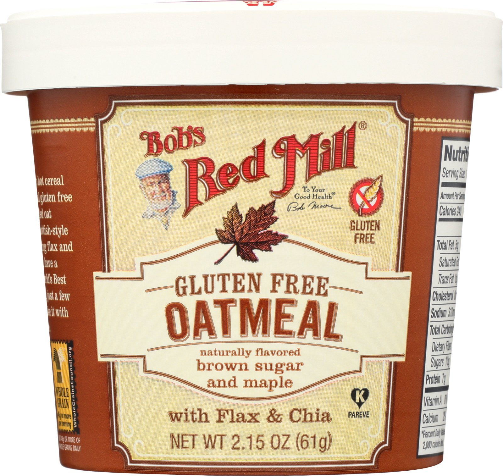 Bob's Red Mill Gluten-Free Oatmeal Cup, Brown Sugar & Maple, 61g (Pack of 12)