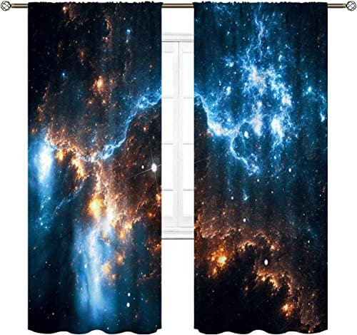 Cinbloo Galaxy Sky Curtains Rod Pocket 52 W x 84 L Inch Nebula Planet Night Starry Star Universe Outer Space Fantasy Art Printed Living Room Bedroom Window Drapes Treatment Fabric 2 Panel