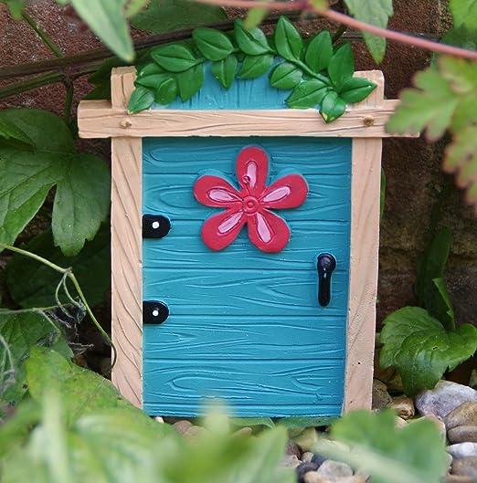 Nueva puerta de hadas azul pequeño adorno de jardín árboles o pared: Amazon.es: Jardín