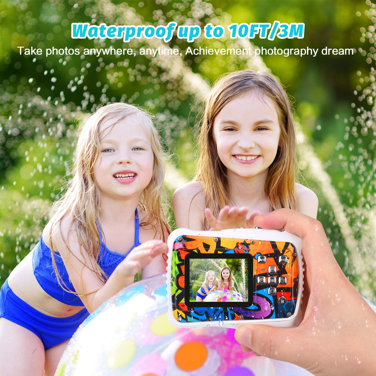 BOMEON Waterproof Camera for Kids 12MP HD Underwater Action Camera Camcorder with 8X Digital Zoom Flash Mic 2.0 Inch LCD Display with 8G SD Card 3 Non-Rechargeable Batteries Included by BOMEON (Image #5)