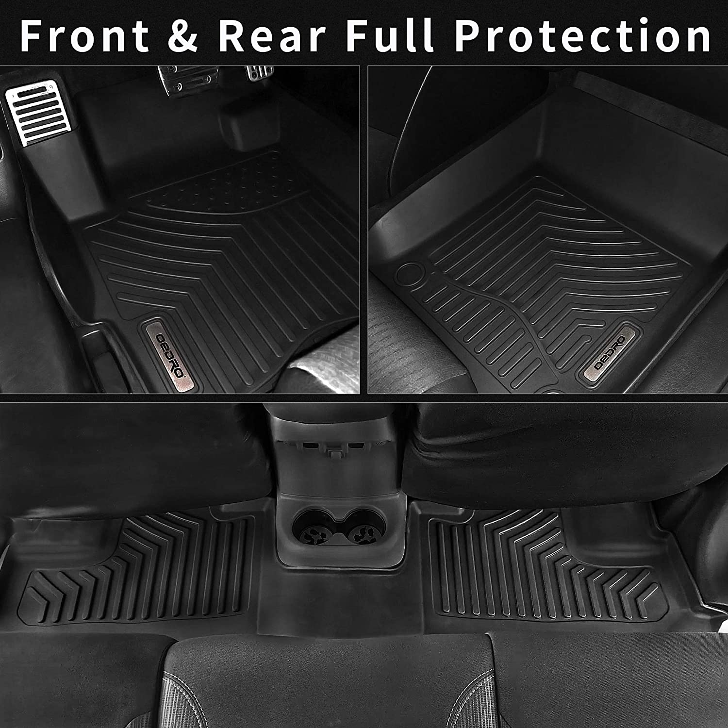 Custom Fit Front /& 2nd Seat 2 Row Liner Set Black TPE All-Weather Guard oEdRo Floor Mats Compatible with 2013-2020 Nissan Pathfinder