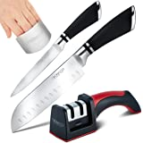 Fibonacci-Kitchen 4 Pack Kitchen Knives Set: Chef Knife, Carving Knife, 2-Stage Knife Sharpener And Finger Guard – Professional Stainless Steel Cooking Equipment And Ergonomic Sharpening System