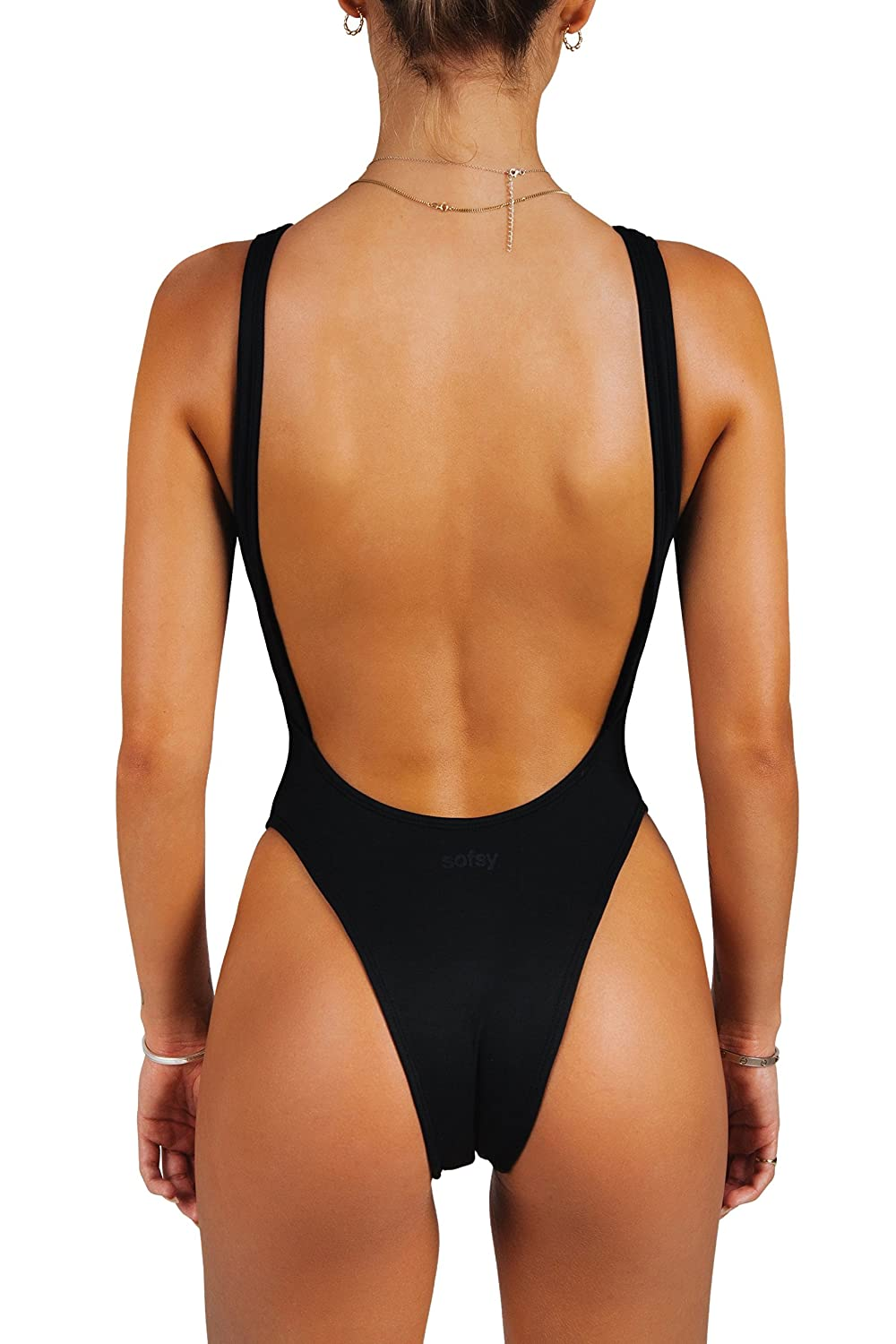 efadaa15899 sofsy One Piece Swimsuit for Women Bathing Suit High Cut Low Back Sexy Swimwear  Retro Backless 80s 90s at Amazon Women's Clothing store: