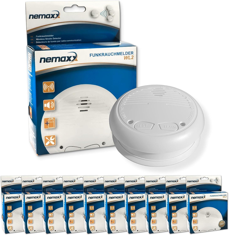 10x Nemaxx WL2 D/étecteurs de fum/ée sans Fil Conforme en 14604