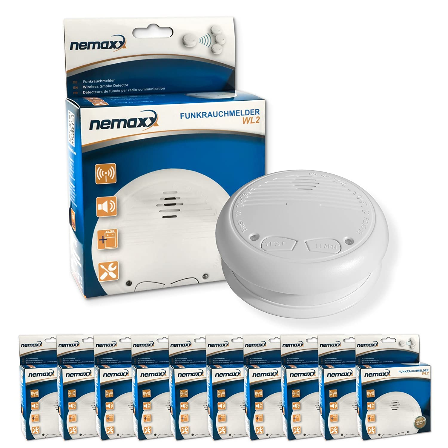 10x WL2 Wireless Smoke Detector - in accordance with EN 14604 - BUNDLE OFFER Nemaxx 10WL2