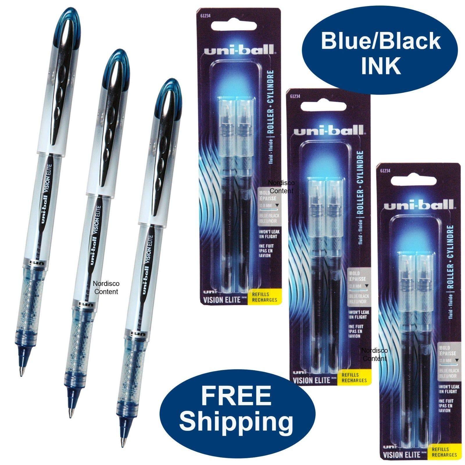 Uni-ball Vision Elite, Blue Black Ink, 3 Pens Plus 3 Packs of Refills, 0.8mm Bold Point