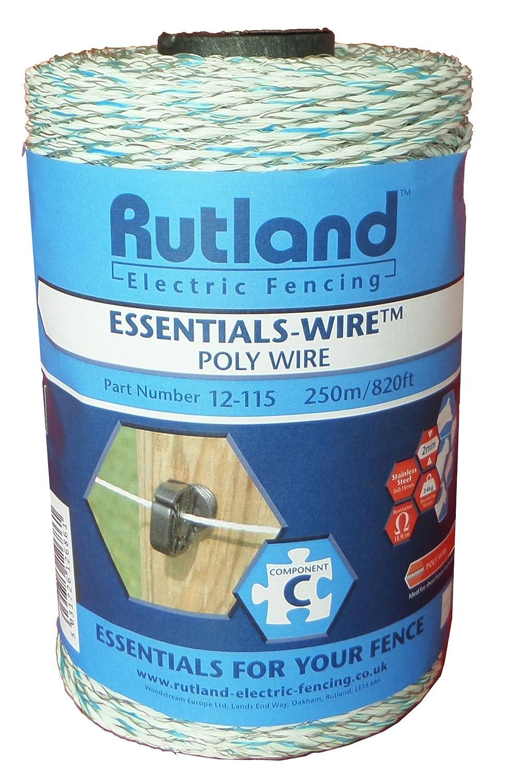 Rutland 12-115R Bobine de fil de clôture électrique - Blanc