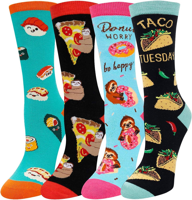 Women Fruit Teeth Book Reading Socks, Funny Food Christmas Animal Gift in 4 Pack