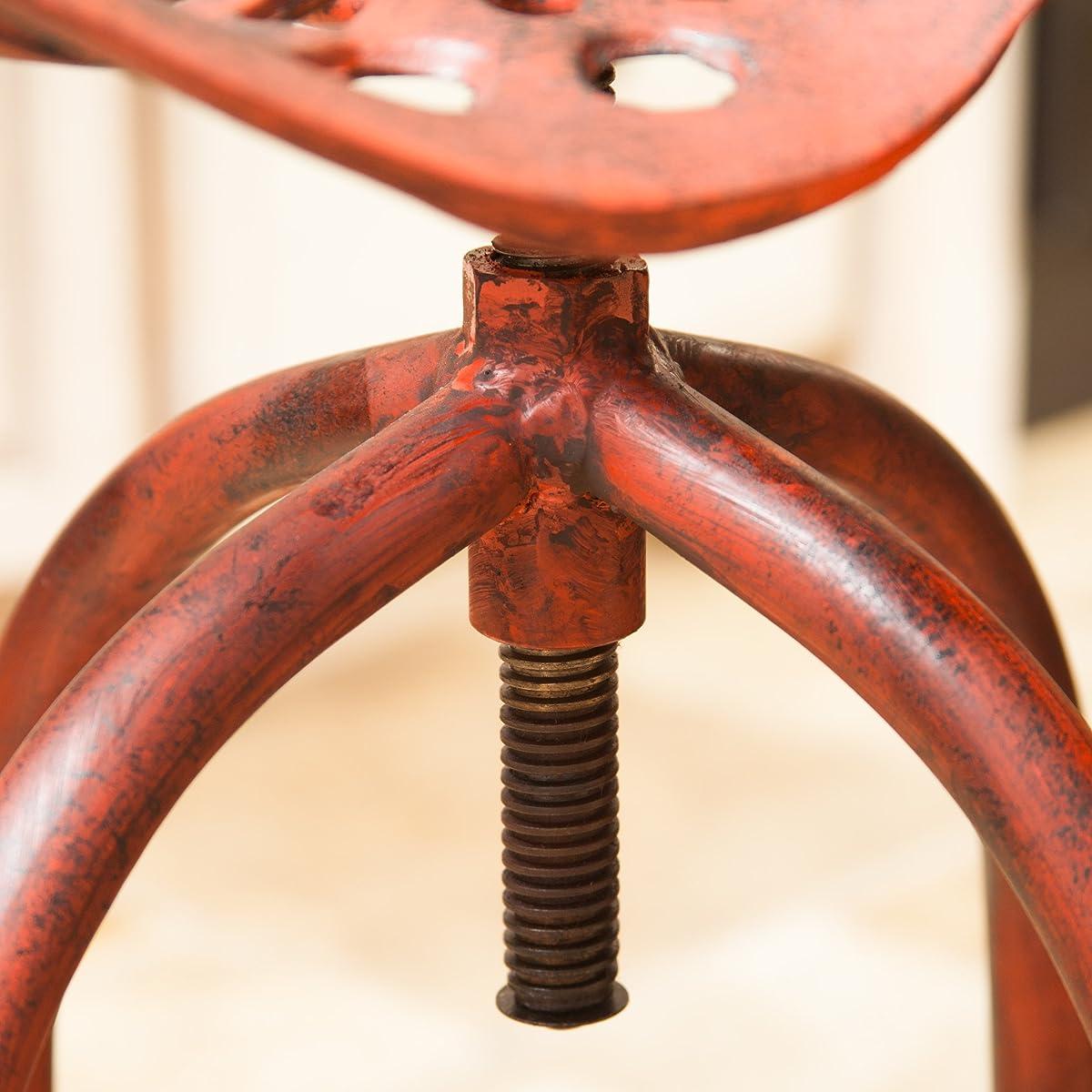 Aldean Red Industrial Design Metal Tractor Adjustable Height Seat Stool