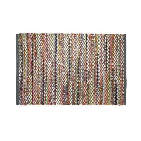 Bathroom Rug 35x24 Inch Sealskin Madras Multicolor Cotton