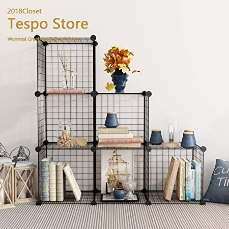 Tespo Wire Storage Cubes Modular Shelving Unit DIY Metal Grid Closet Organizer System, Bookcase, Cabinet 6 Cubes