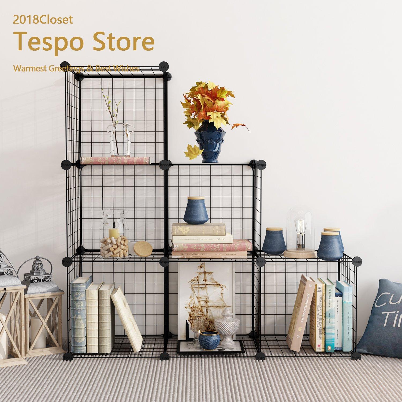 Tespo Wire Storage Cubes Modular Shelving Unit DIY Metal Grid Closet Organizer System, Bookcase, Cabinet (6 Cubes)