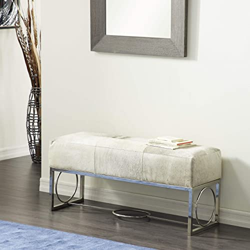 Deco 79 Contemporary White, Gray Black Cowhide Bench with Modern Silver Frame, 48 W x 17 H