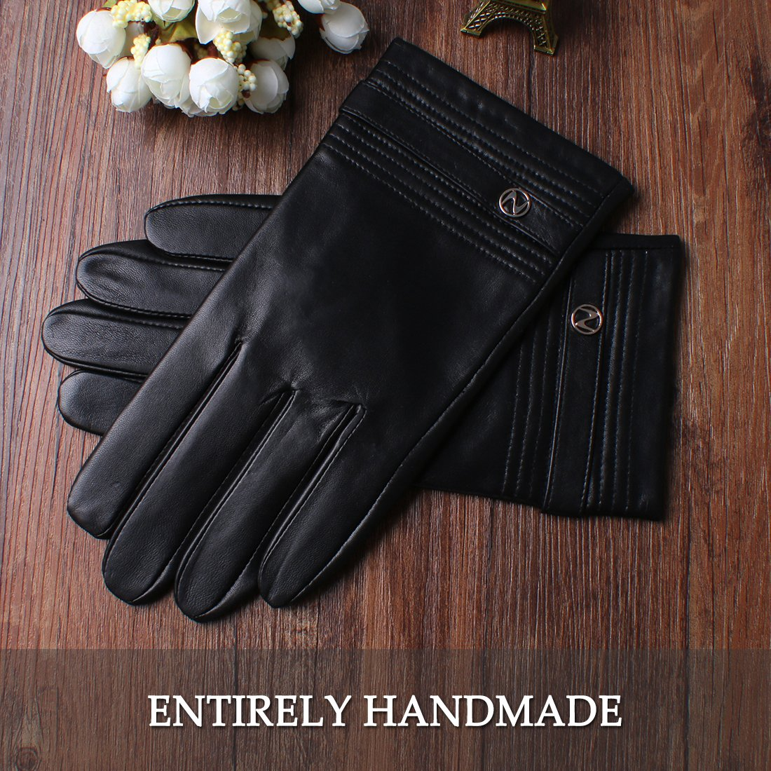 Nappaglo Men's Genuine Lambskin Leather Gloves Touchscreen Winter Warm Windproof Cycling Mittens (S (Palm Girth:up to 8''), Black (Touchscreen)) by Nappaglo (Image #3)
