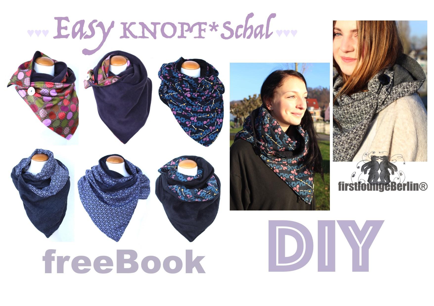 Easy KNOPF Schal free-Book für Loop Schal mit Knopf in 3 Größen für ...