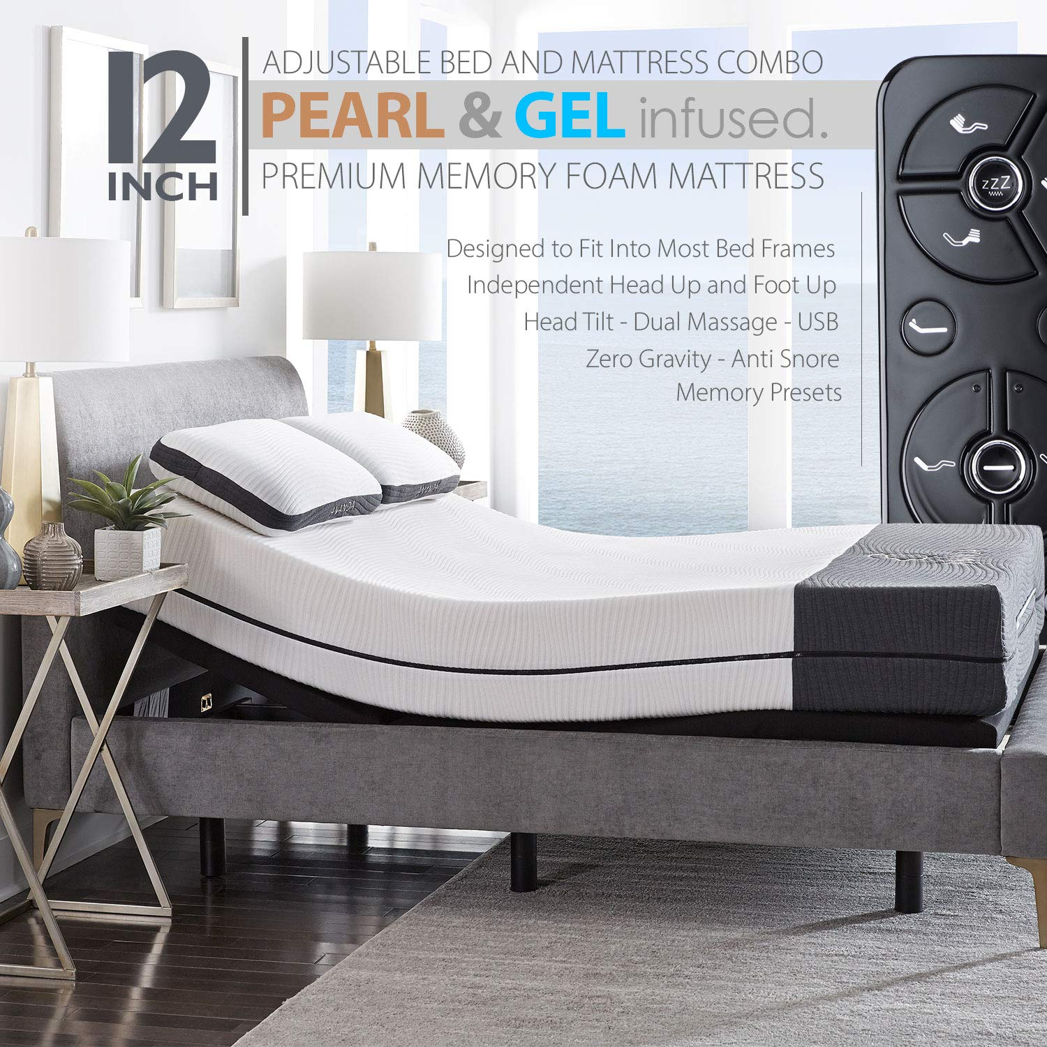 Blissful Nights Ananda 12'' Pearl and Cool Gel Infused Memory Foam Mattress with Premium Adjustable Bed Frame Combo, Head Tilt, Massage, USB, Zero Gravity,Anti-Snore (Full)