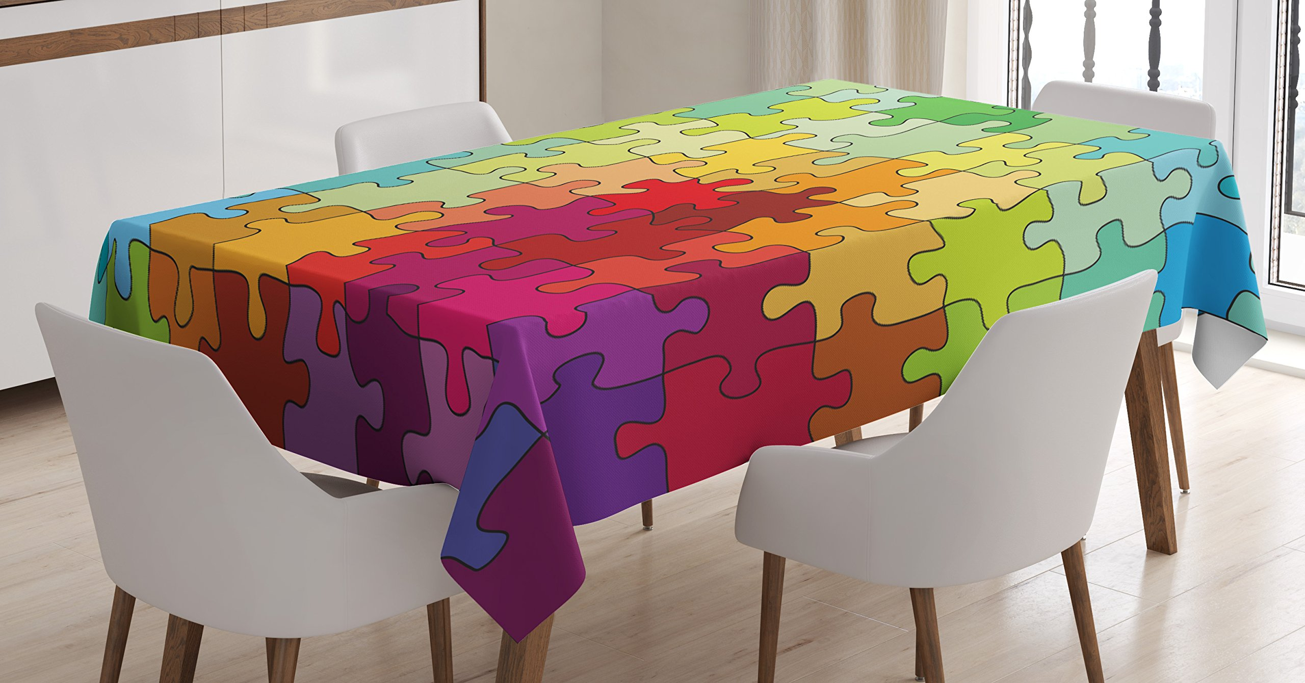 Ambesonne Abstract Tablecloth, Colorful Puzzle Pieces Fractal Children Hobby Activity Leisure Toys Cartoon Image, Dining Room Kitchen Rectangular Table Cover, 60 X 84 inches, Multicolor