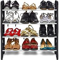 Pureus Plastic Collapsible Shoe Stand (Black, 4 Shelves)