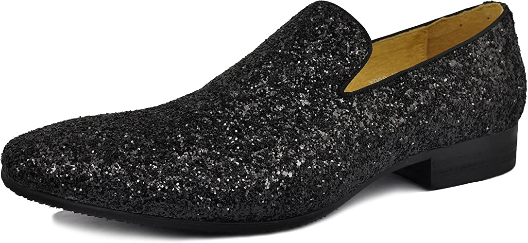 Men Genuine Leather Mens Metallic Textured Slip-on Glitter Loafers Shoes
