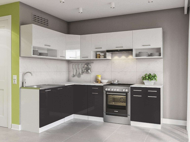 Eldordorado Lux Kitchen Furniture 250 Cm Black L Shape Corner Kitchen Block Amazon De Home Kitchen