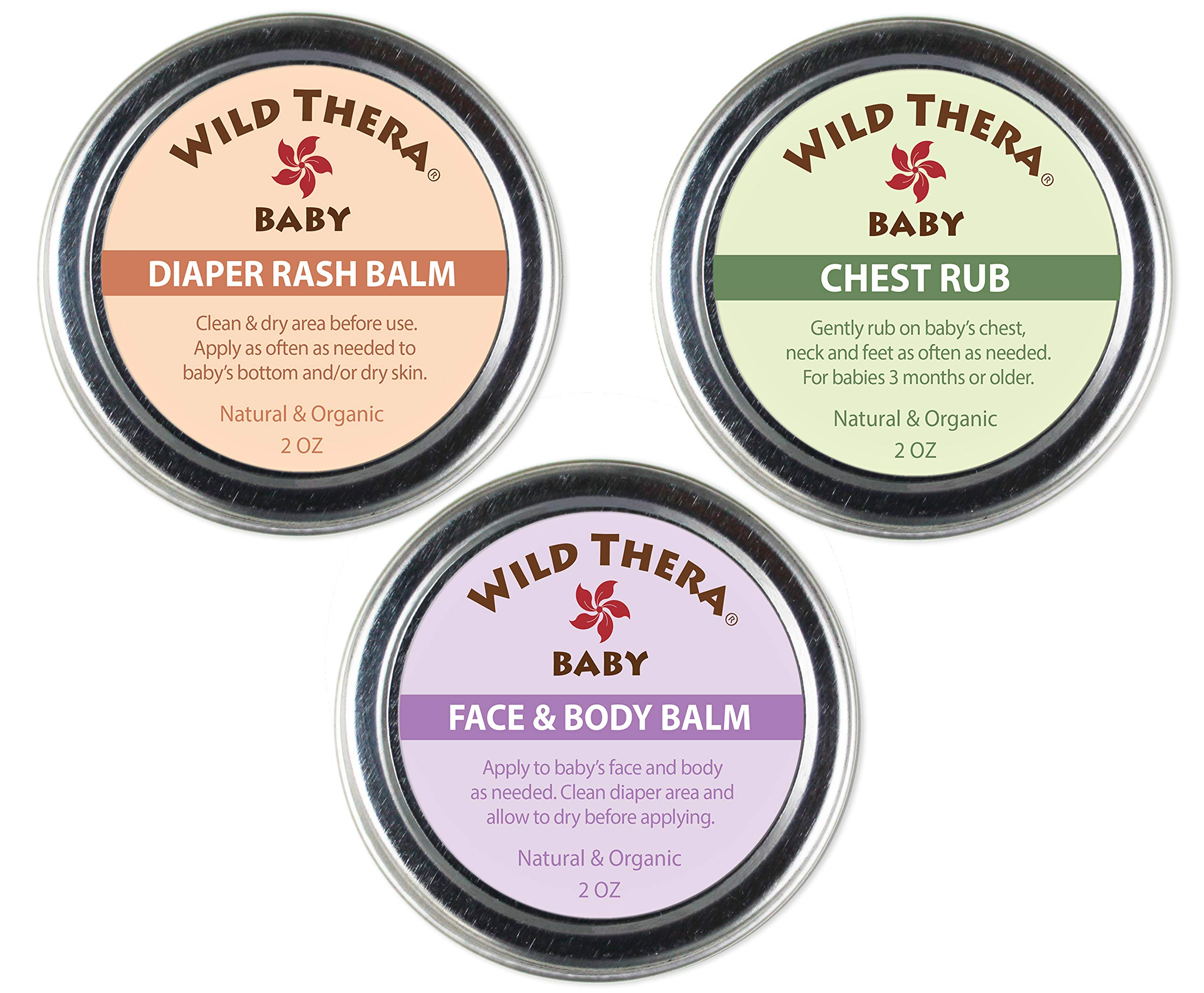 Wild Thera Baby Care Set. Organic, Natural Diaper Rash Cream, Chest Rub & Baby Face Ointment for rashes, irritated skin, sniffles, congestion, runny nose, dry skin, eczema, psoriasis 2 oz by Wild Thera