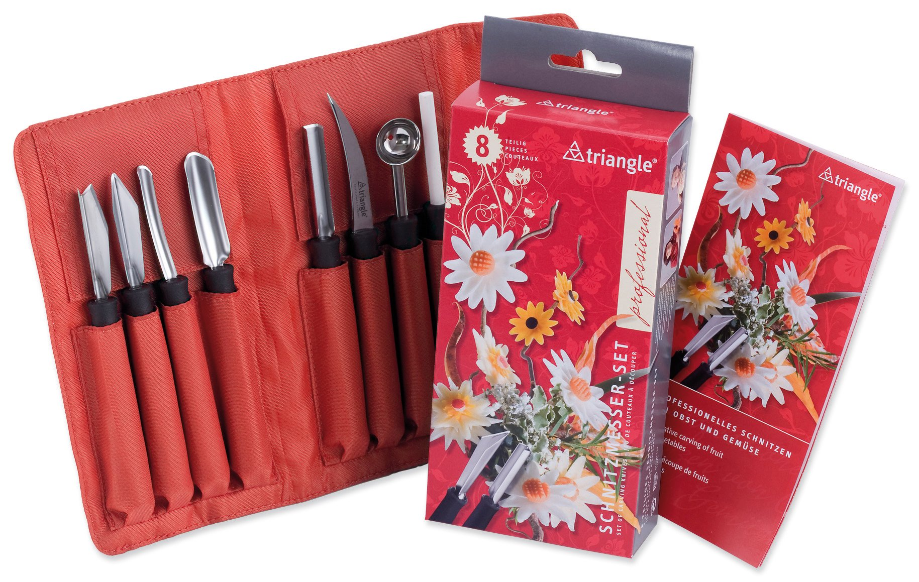 TRIANGLE Germany Professional Carving Tool Set, 8-Piece Ultra-Sharp Stainless Steel Kit Includes Various Essential Knives, Melon Baller, Sharpening Stone and Roll-up Carrying Case