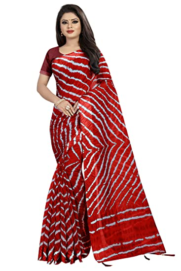 9b2e70babd78d1 Deepjyoti Creation Women s Beautiful Ethnic Wear Printed Linen Saree With Running  Blouse Piece  Amazon.in  Clothing   Accessories