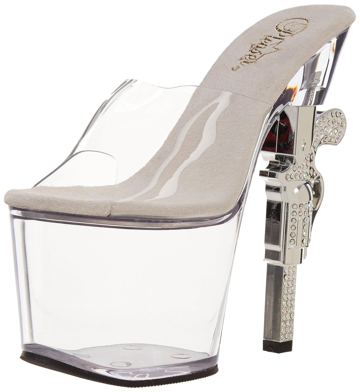 Pleaser Women's Revolver-701 Platform Sandal B008X9QO5U 12 B(M) US|Clear