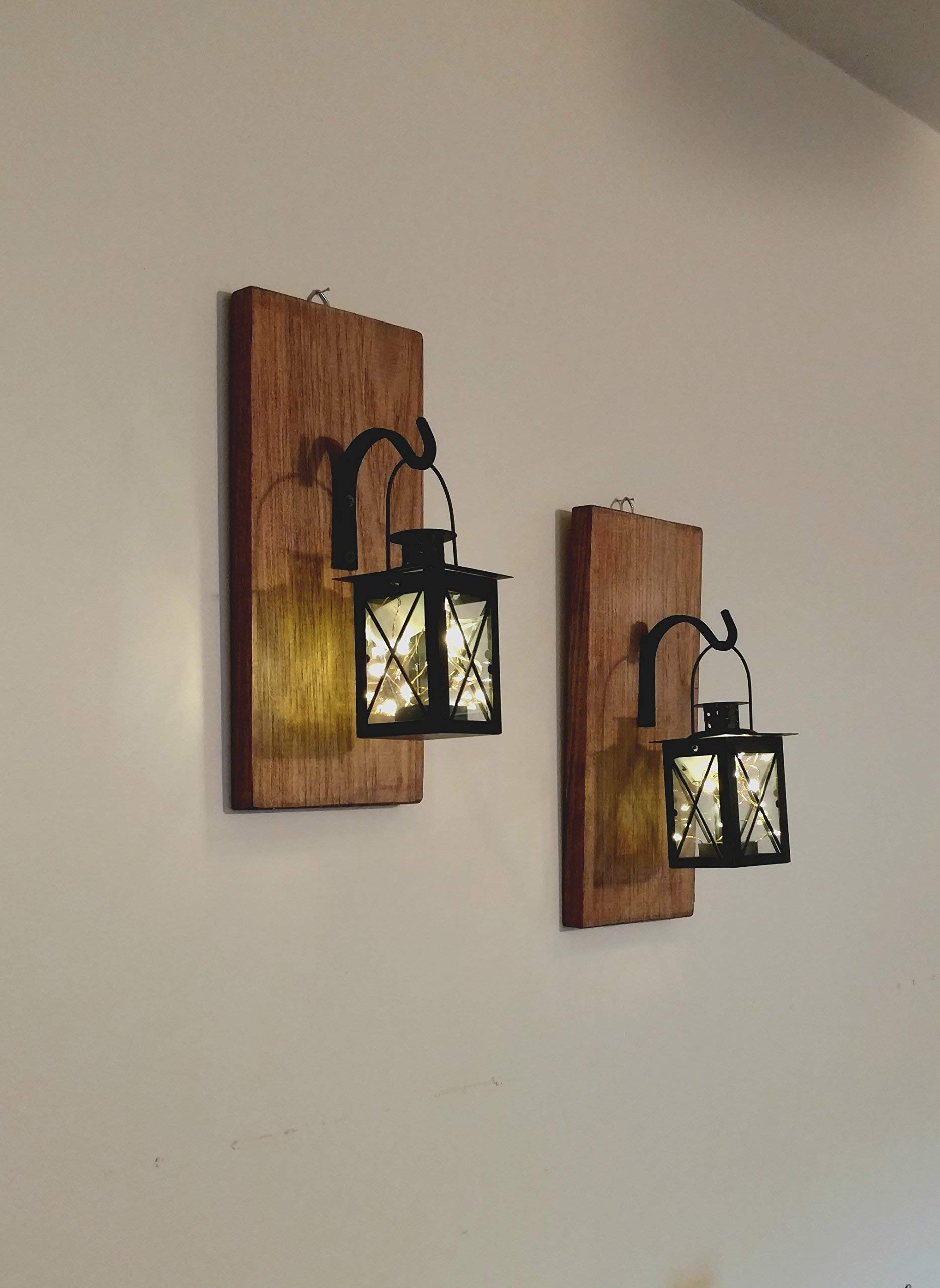 Rustic Wall Mounted Hanging Metal Lanterns With Lights, Set of 2, Rustic Home Decor by Twin Oak Rustics